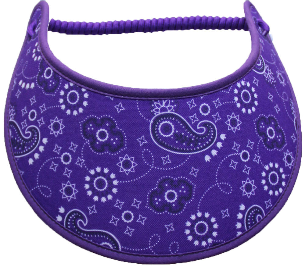 Foam sun visor paisleys on purple