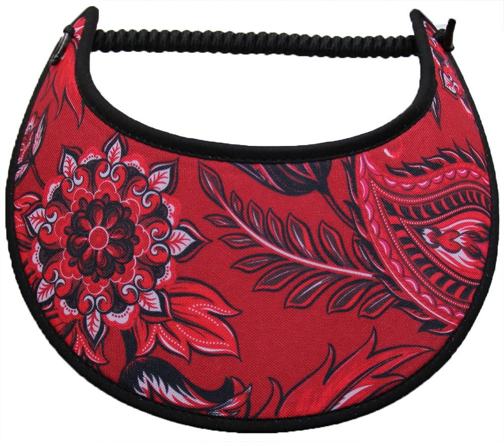 Foam sun visor large paisley on red