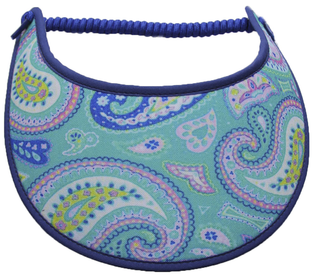 Foam sun visor with paisleys on aqua