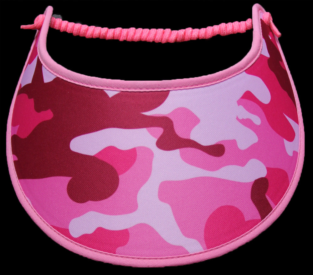 Ladies camo sun visor in shades of pink