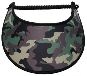 Ladies camo sun visor in black, brown, green