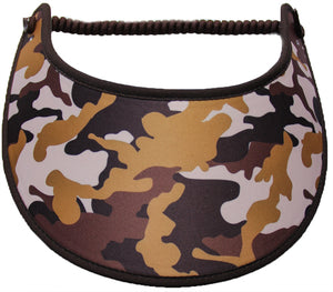 Ladies camo sun visor in shades brown & tan