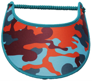 Ladies camo sun visor in dark & light teal with orange and burgundy