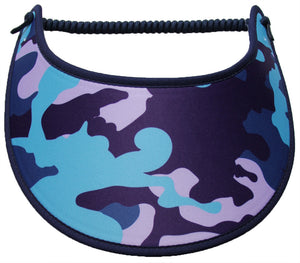 Ladies camo sun visor in purple, navy, and aqua