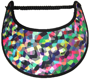 Multicolored  foam sun visor trimmed with black