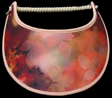 Ladies sun visor with softly falling leaves in shades of peach