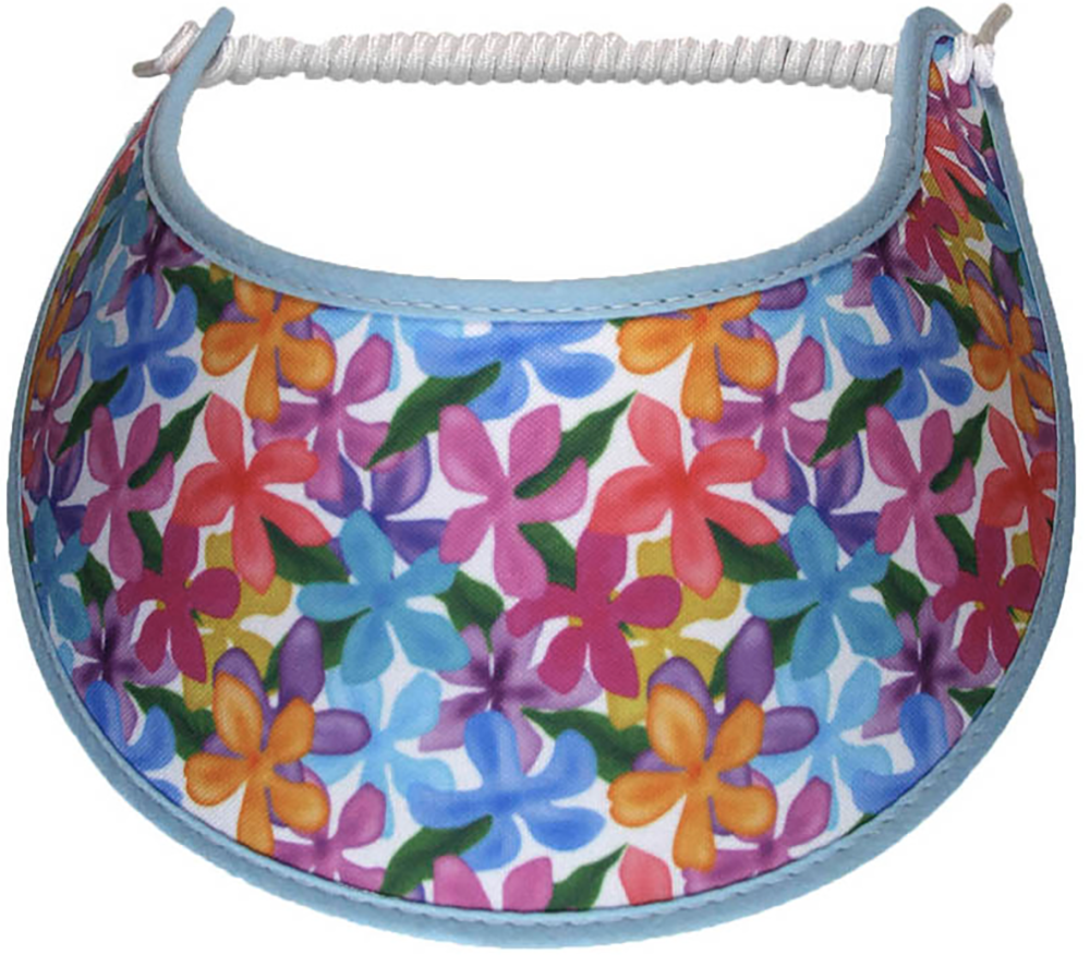 Foam sun visor with blue, pink, yellow flowers