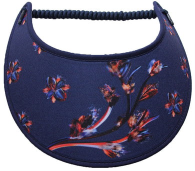 Ladies sun visor with copper colored digital flowers on navy