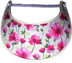 Foam sun visor with pink flowers on cream