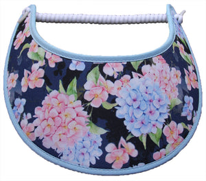 Foam sun visor with hydrangeas on navy