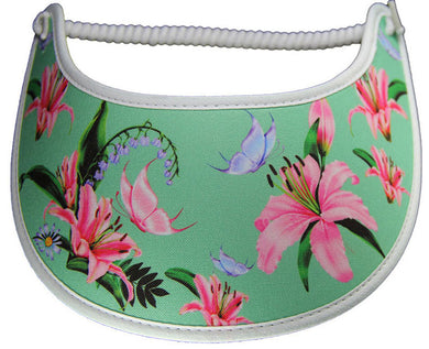 Visor with pink lilies & lavender butterflies on light green background