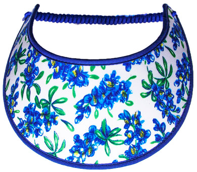 Ladies foam sun visor with Texas Bluebonnets