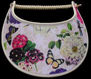 N101 FLOWERS, BUTTERFLIES, & FIREFLIES ON TAN...VISOR EDGES TRIMMED WITH TAN FABRIC