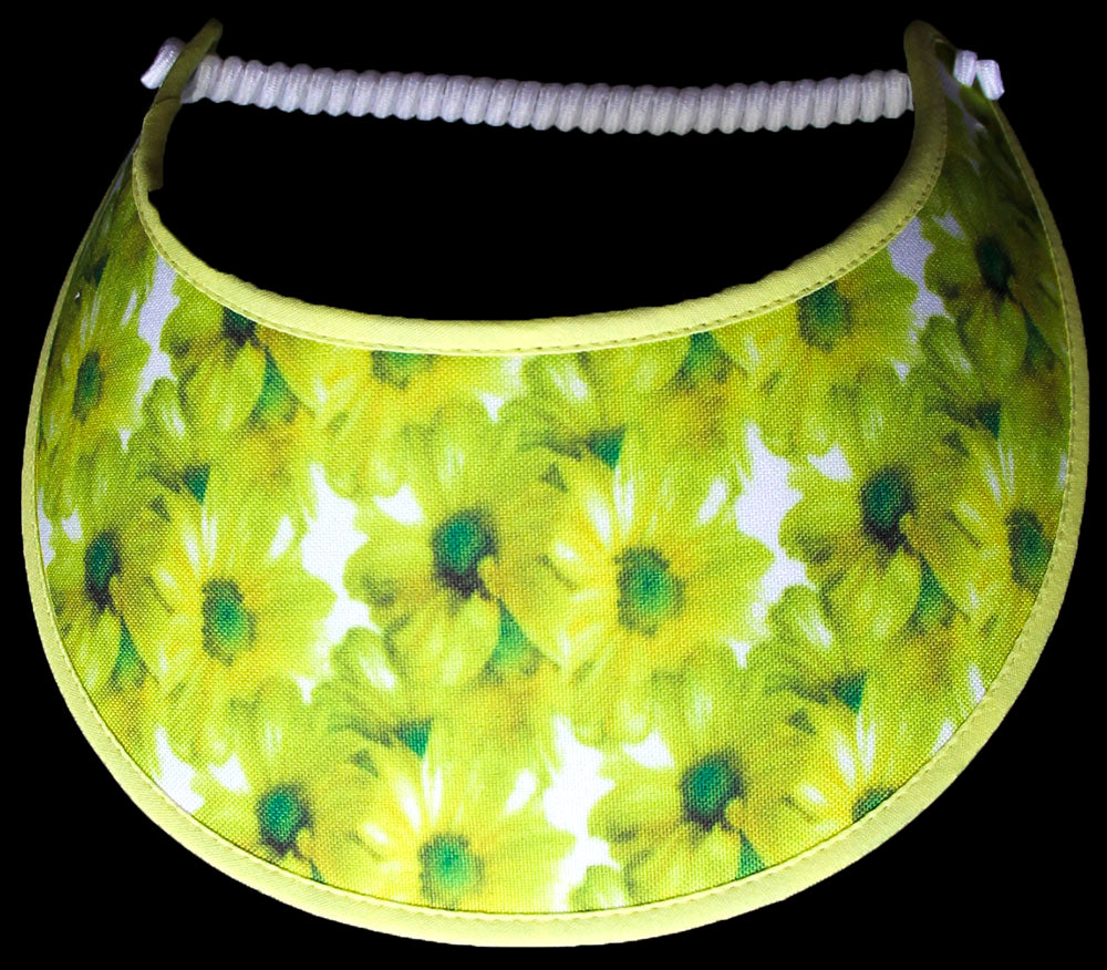 N105 YELLOW DAISIES ON WHITE ON WHITE...EDGES TRIMMED IN YELLOW