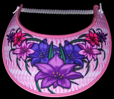 Ladies foam sun visor with day lilies on pink