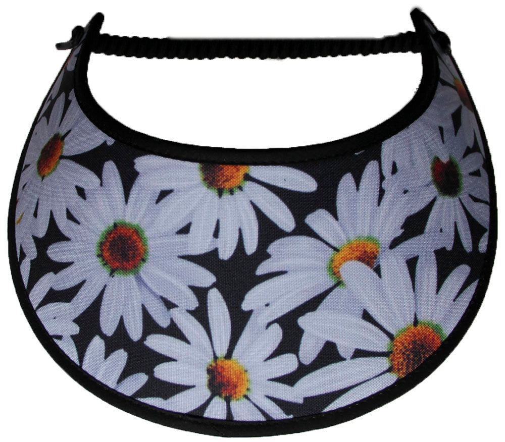 Ladies foam sun visor with white daisies on black