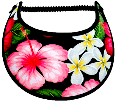 Ladies sun visor with large hibiscus on black