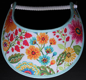 Foam sun visor with flowers in orange, red, and teal