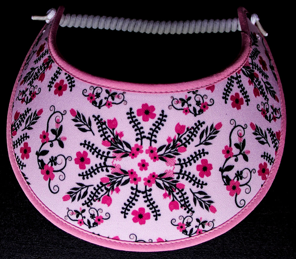 Ladies foam sun visor tiny pink flowers with black accents on pink