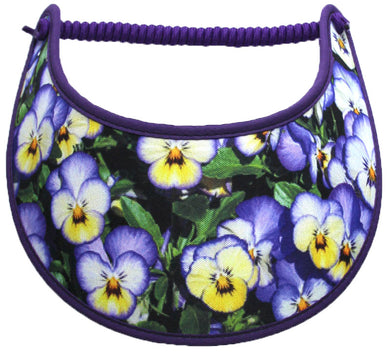 Ladies foam sun visor with purple and yellow pansies