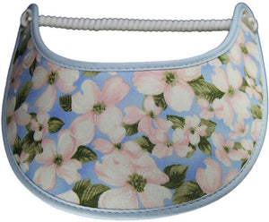 Ladies foam sun visor with dogwood blossoms on light blue