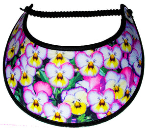 Ladies foam sun visor with pink & yellow on black