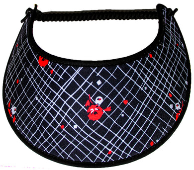Ladies foam sun visor with small red & white flowers on black