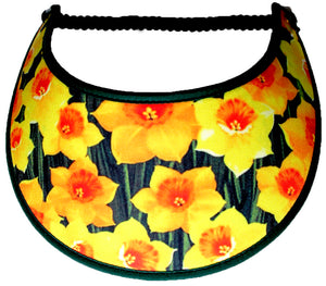 Ladies foam sun visor with daffodils on dark green