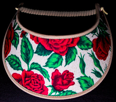 Ladies foam sun visor with red roses on tan