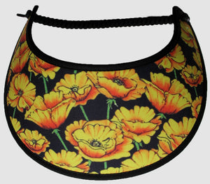 Ladies foam sun visor with yellow flowers on black