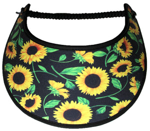 Ladies foam sun visor sunflowers on black