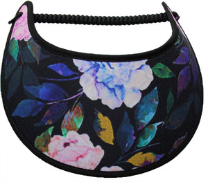 Lady foam sun visors with pastel flowers and darker leaves on black