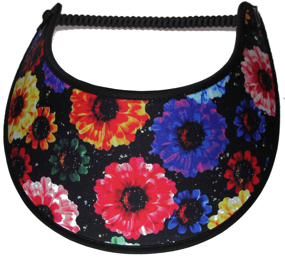 Foam sun visor with colorful flowers on black