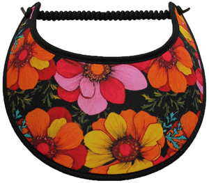 Ladies foam sun visor with large flowers in orange, yellow and pink