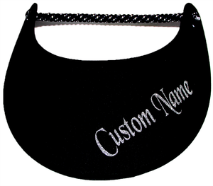 Foam sun visor with your custom name in silver on black