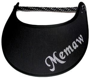 Foam sun visor with with Grandma nickname MEMAW in silver bling