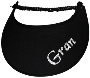 Foam sun visor with with Grandma nickname GRAN in silver bling
