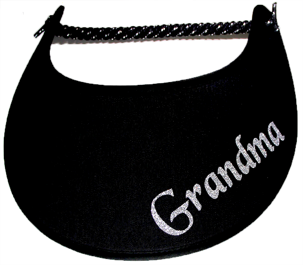 Foam sun visor with Grandma nickname Grandma in silver bling