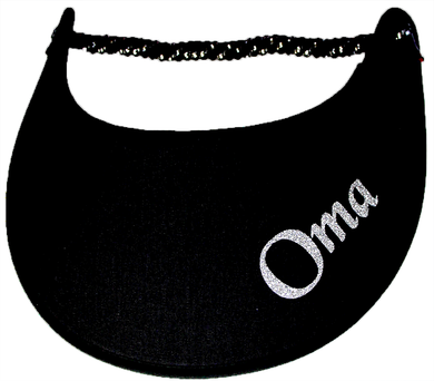 Foam sun visor with with Grandma nickname OMA in silver bling