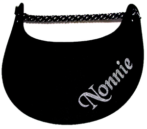 Foam sun visor with with Grandma nickname Nonnie in silver bling