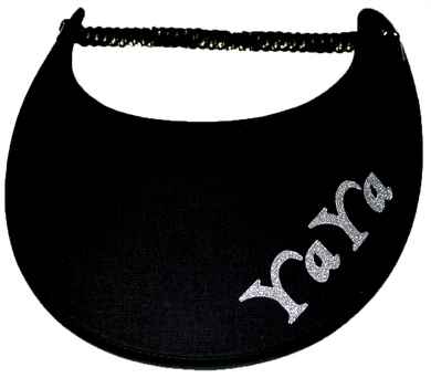 Foam sun visor with with Grandma nickname YAYA in silver bling: