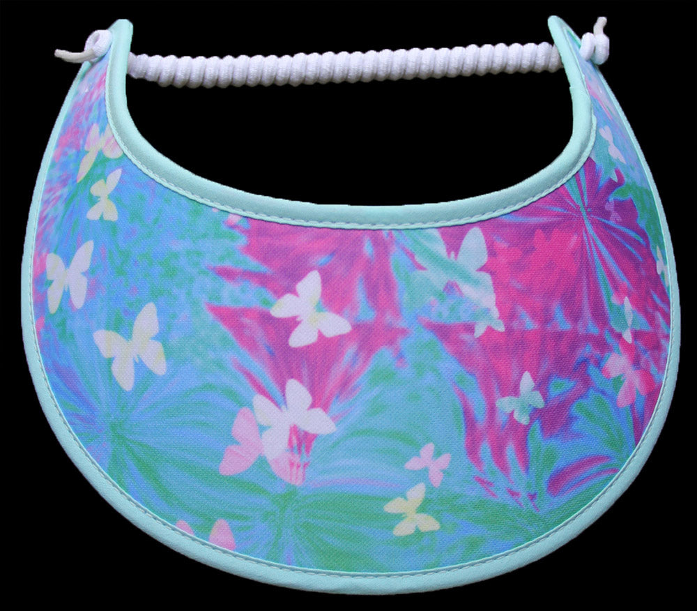 Ladies sun visor in pastel colors of aqua, green, pink with white butterflies