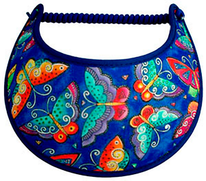 Foam sun visor with colorful butterflies on royal blue
