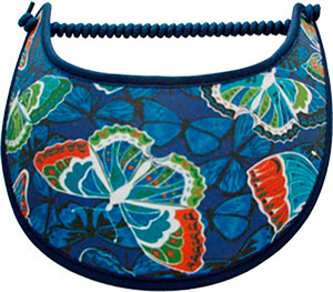 Foam sun visor with butterflies & silhouettes on royal blue