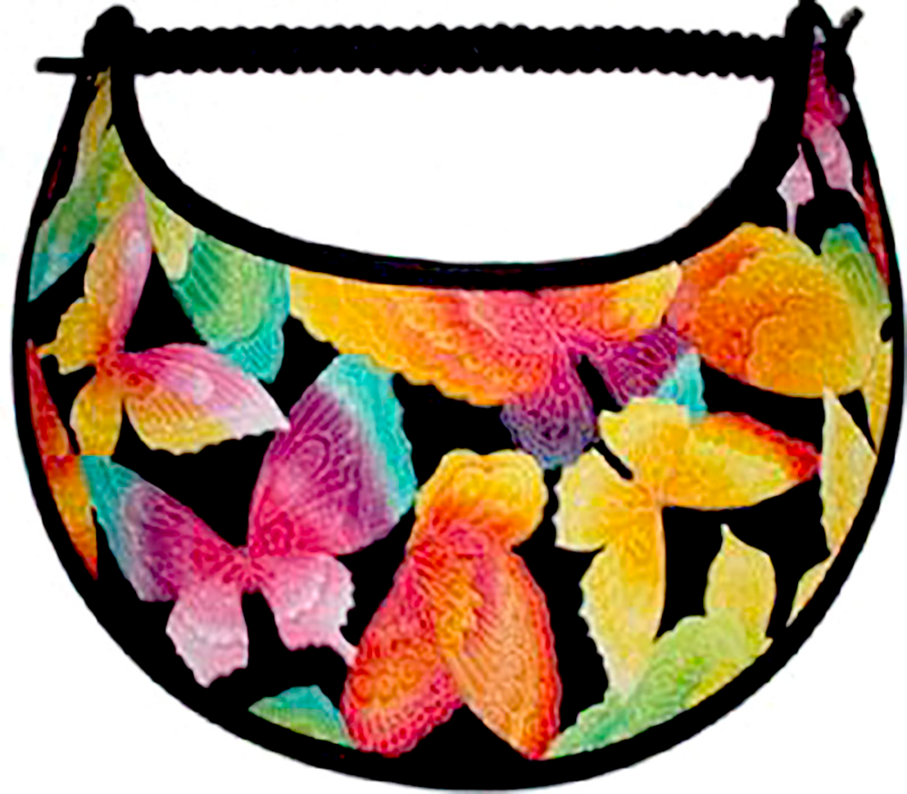 Foam sun visor with brightly colored butterflies
