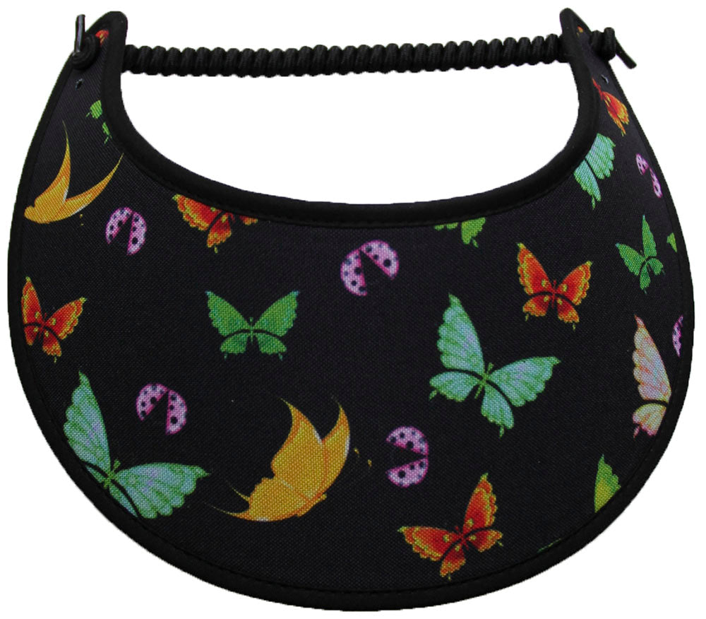 Foam sun visor with small butterflies in assorted colors on black