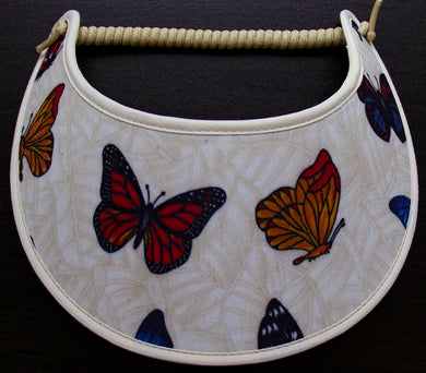 Foam sun visor with assorted butterflies on off white background