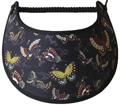Foam sun visor with gold and rust colored butterflies