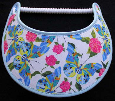Foam sun visor with butterflies & flowers on white