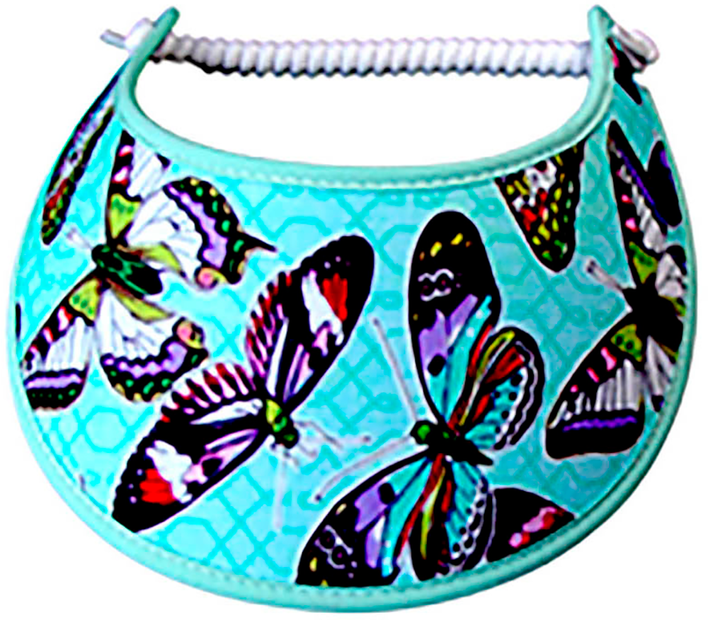Foam sun visor with colorful butterflies